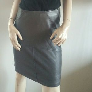 Bebe Grey Leather Pencil Skirt Black XS